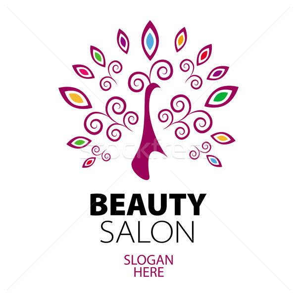 Páva logo szépségszalon üzlet nők test Stock fotó © butenkow