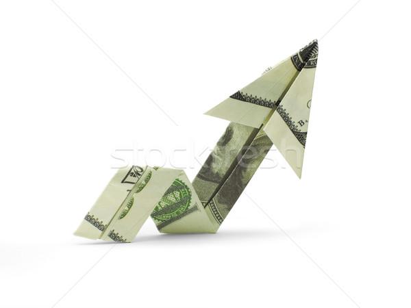 Origami pijl honderd dollar bankbiljetten business Stockfoto © butenkow