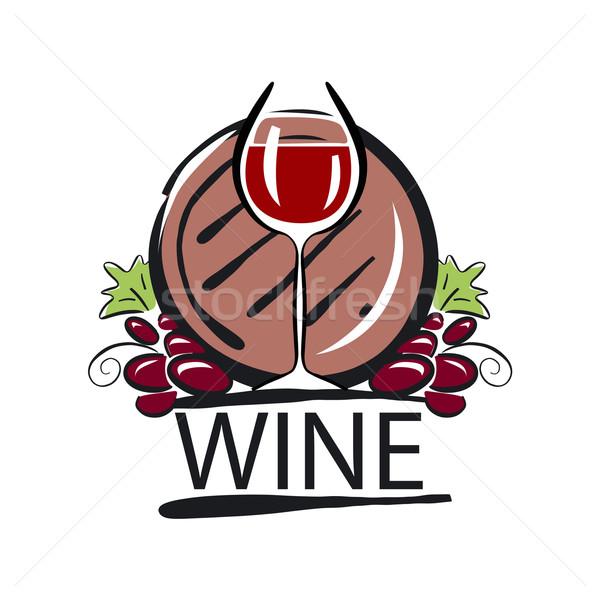 vector logo red wine barrel and the vine Stock photo © butenkow