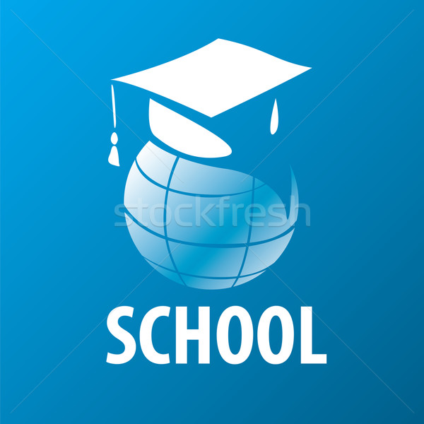 Wektora logo akademicki cap świecie książki Zdjęcia stock © butenkow