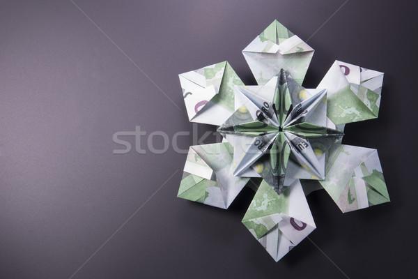 Geld origami sneeuwvlok bankbiljetten euro handgemaakt Stockfoto © butenkow