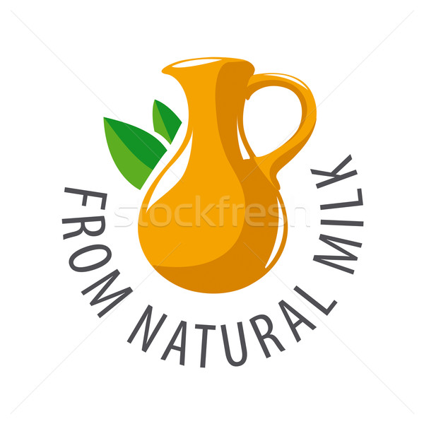 vector logo earthenware jug and leaves Stock photo © butenkow