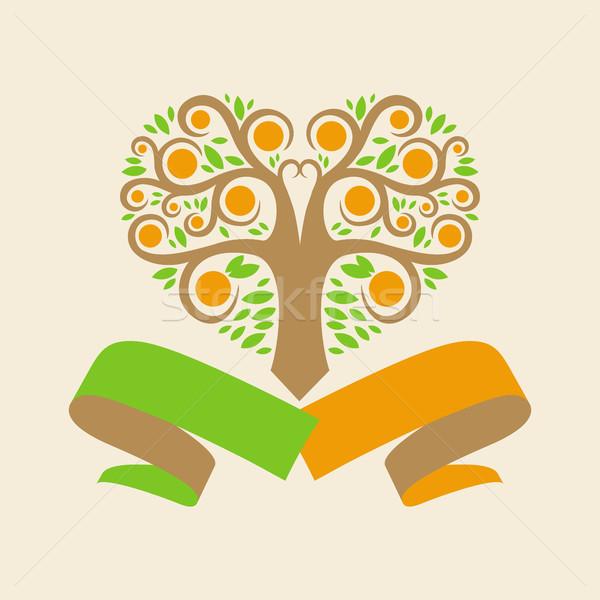 Esküvő logo narancsfa űrlap szívek szalagok Stock fotó © butenkow