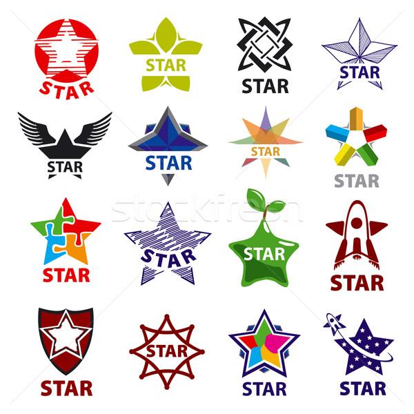 Nagy szett vektor logók csillag terv Stock fotó © butenkow