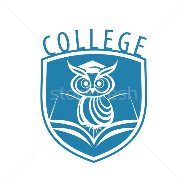 вектора логотип совы щит колледжей книга Сток-фото © butenkow