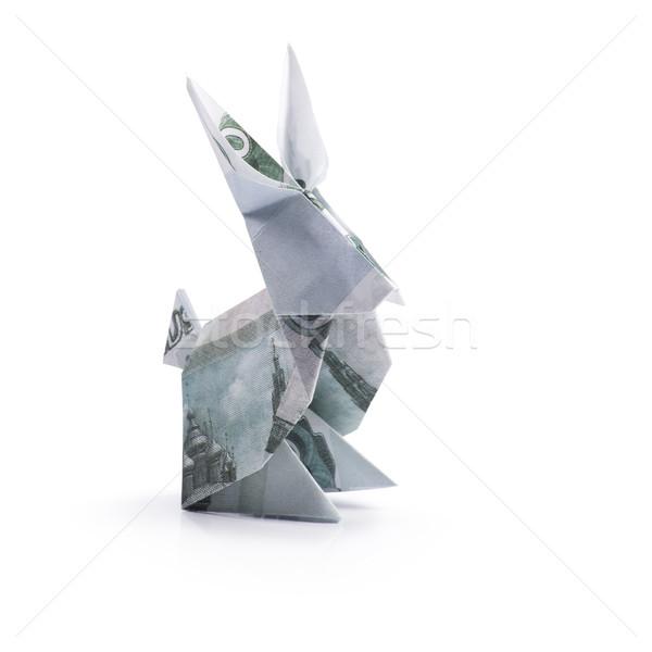 Origami nyúl bankjegyek fehér papír absztrakt Stock fotó © butenkow