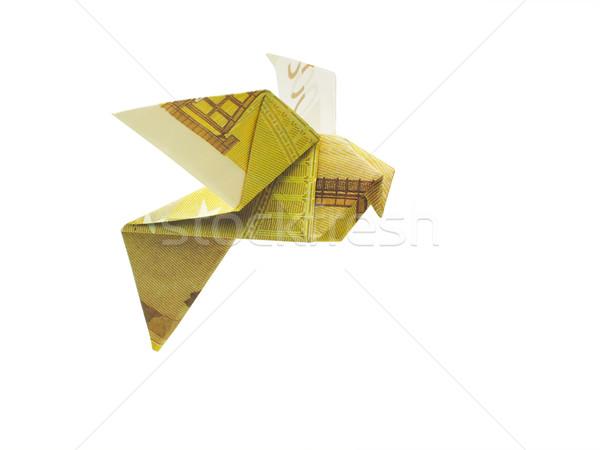 Origami madarak Euro bankjegyek pénz terv Stock fotó © butenkow