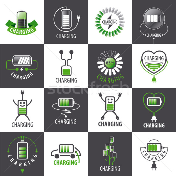 large set of vector logos charging accumulators Stock photo © butenkow