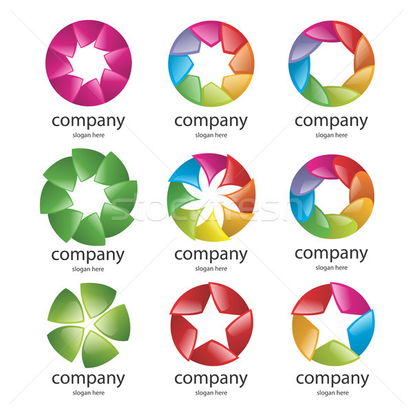 abstract multicolored logo of the petals Stock photo © butenkow