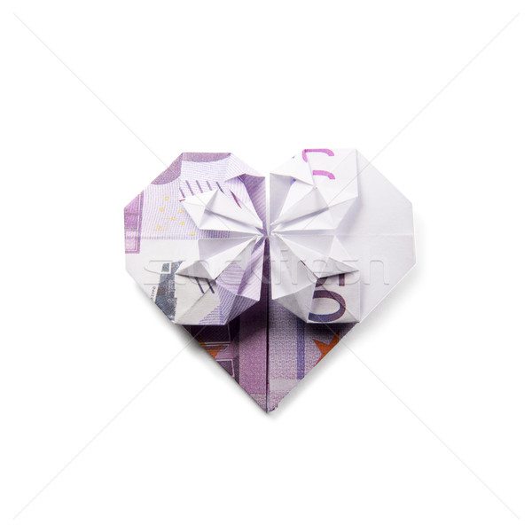 Origami coeur blanche affaires argent Photo stock © butenkow