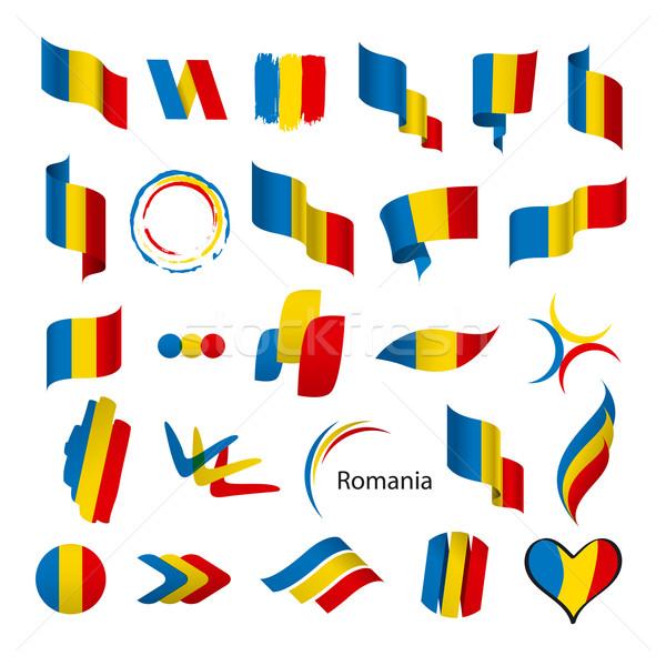 Ensemble vecteur drapeaux Roumanie signe modèle Photo stock © butenkow
