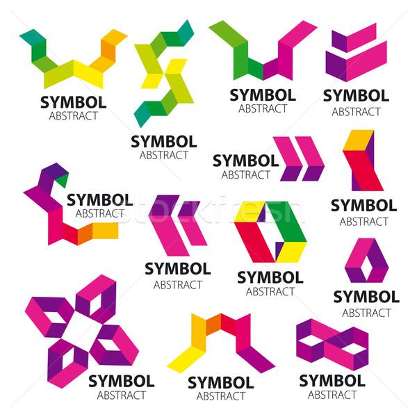 Büyük ayarlamak vektör logolar geometrik güneş Stok fotoğraf © butenkow