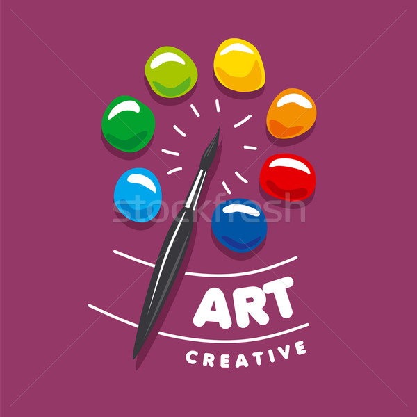 vector logo brush and palette with paints Stock photo © butenkow