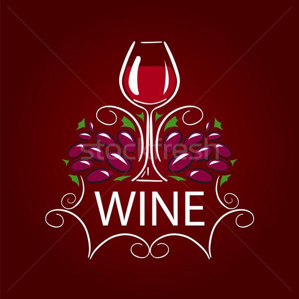 Vettore logo vetro vino uve design Foto d'archivio © butenkow