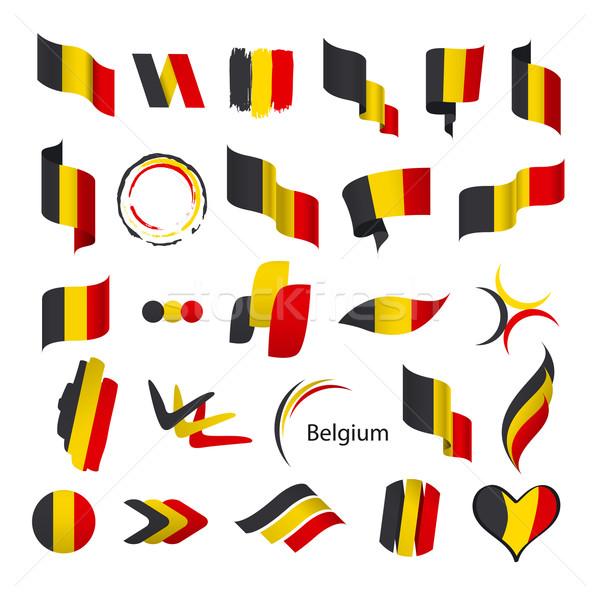 Toplama vektör bayraklar Belçika imzalamak model Stok fotoğraf © butenkow