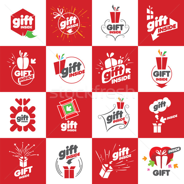 Nagy szett vektor logók ajándékok terv Stock fotó © butenkow