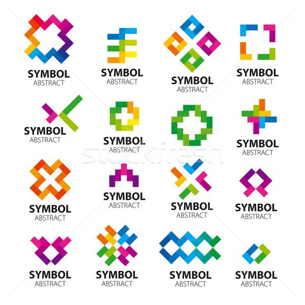 Büyük ayarlamak vektör logolar güneş sanat Stok fotoğraf © butenkow