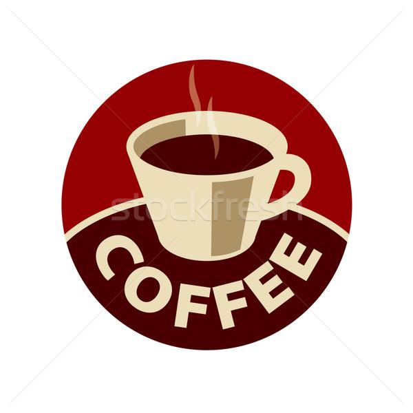 вектора логотип Кубок черный кофе аннотация дизайна Сток-фото © butenkow