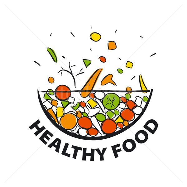 Vetor logotipo legumes frescos dieta saudável grama folha Foto stock © butenkow