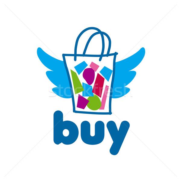 Vetor logotipo pacote bens asas compras Foto stock © butenkow