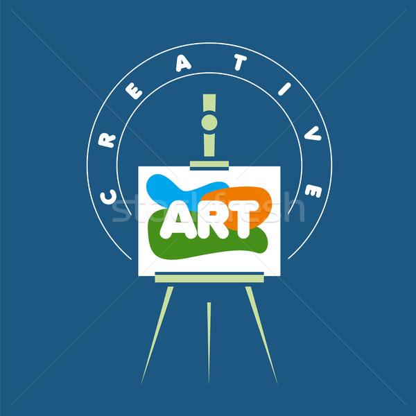 Vector logo creatieve schildersezel kunst schoonheid Stockfoto © butenkow