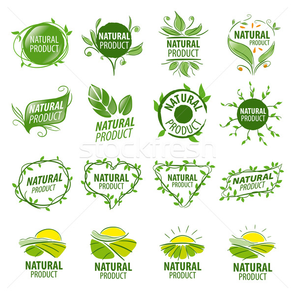 large set of vector logos for natural products Stock photo © butenkow