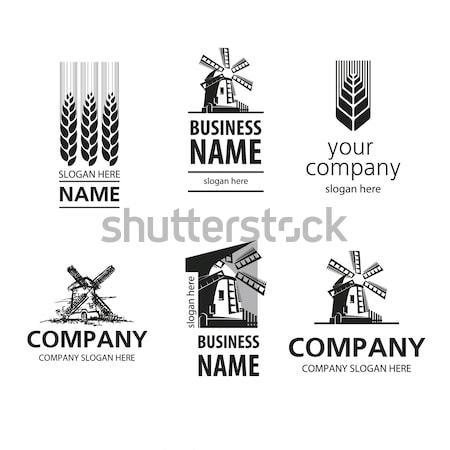 Brood logo zwarte wind mooie stijl Stockfoto © butenkow