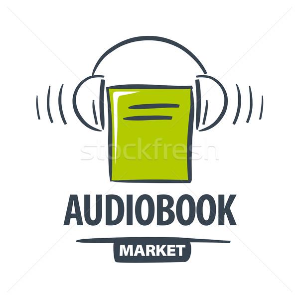 vector logo green book with headphones Stock photo © butenkow