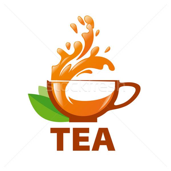 Vektör logo sıçraması fincan çay dizayn Stok fotoğraf © butenkow