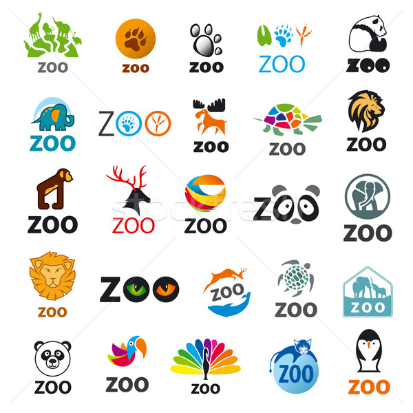 Grande establecer vector logos zoológico gato Foto stock © butenkow