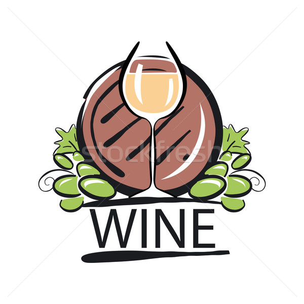 vector logo white wine barrel and the vine Stock photo © butenkow