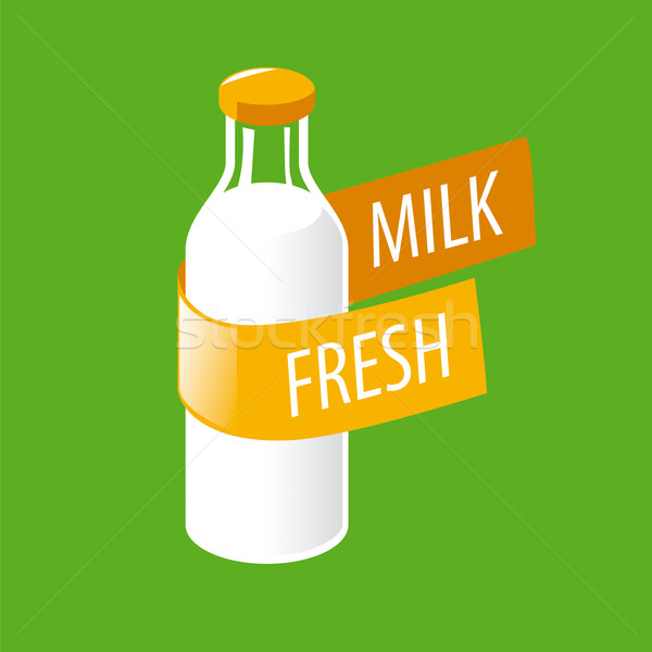 vector logo glass bottle with milk Stock photo © butenkow