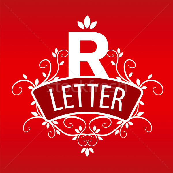 Logo letter R with a vegetative ornament on a red background Stock photo © butenkow