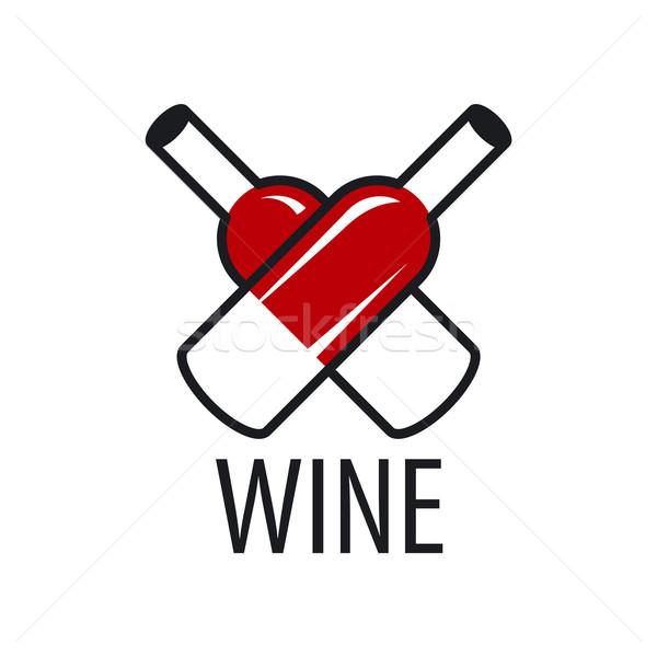 vector logo wine bottles in the form of heart Stock photo © butenkow