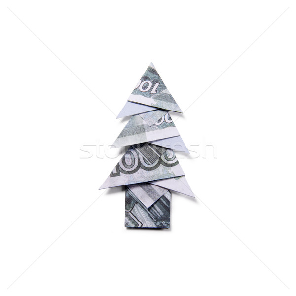 Money Origami Christmas tree Stock photo © butenkow