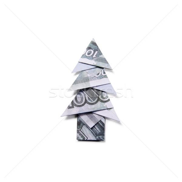 деньги оригами рождественская елка дерево строительство Сток-фото © butenkow