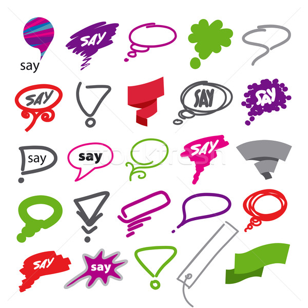 biggest collection of vector bubbles and ribbon Stock photo © butenkow