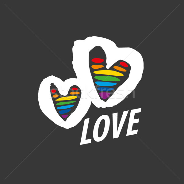 Logo coeur Rainbow design gay lesbiennes Photo stock © butenkow