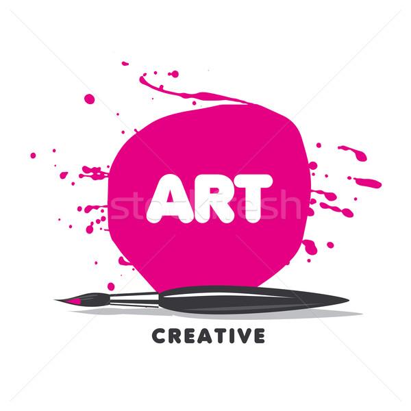 Vetor logotipo escove pintar spray escolas Foto stock © butenkow