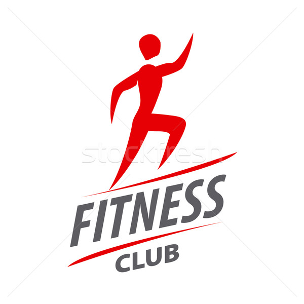 Red vector logo man running for fitness club Stock photo © butenkow