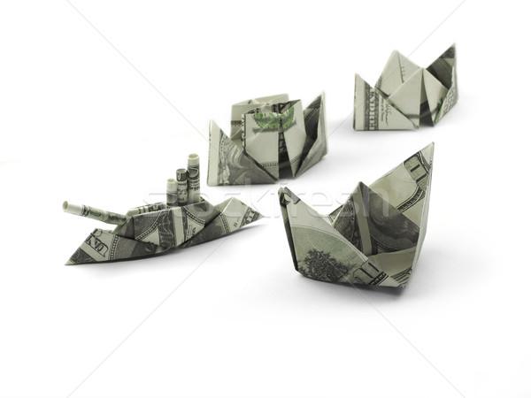 Kolekcja origami statków jeden sto Dolar Zdjęcia stock © butenkow