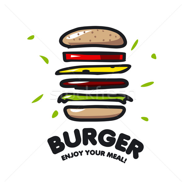 Vettore logo burger fast food business cane Foto d'archivio © butenkow