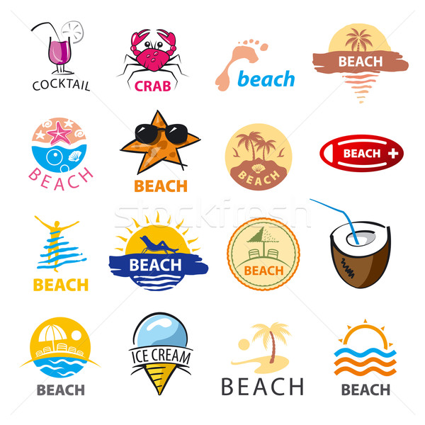 biggest collection of vector logos beach, palm trees, sea Stock photo © butenkow
