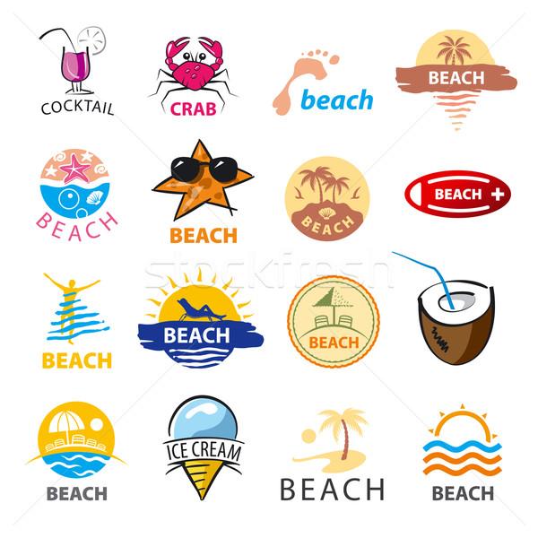 Colección vector logos playa palmeras mar Foto stock © butenkow