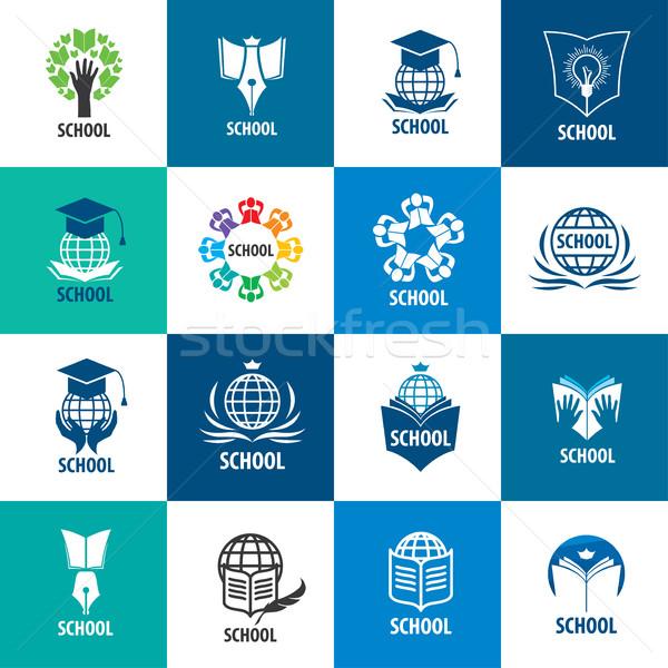 Vector logo school abstract boeken illustratie Stockfoto © butenkow