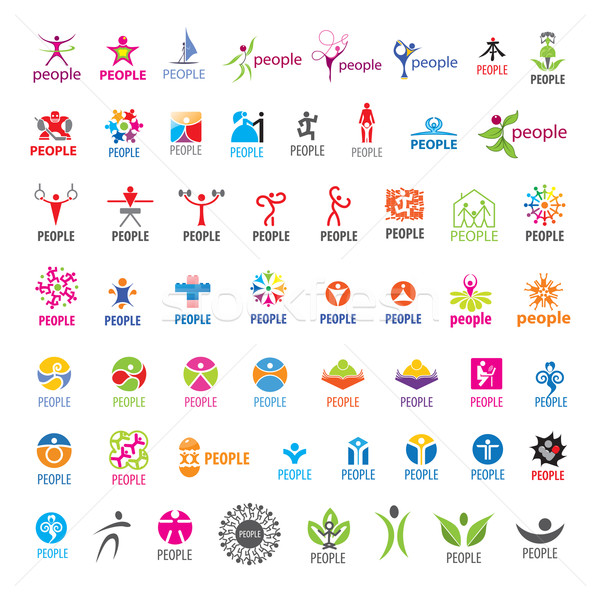 biggest collection of vector logos people  Stock photo © butenkow