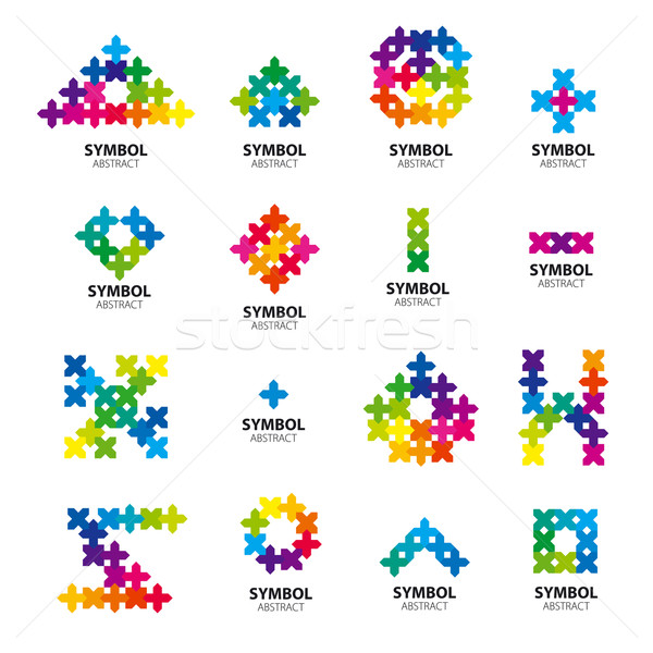 Big collection of vector logos of abstract modules Stock photo © butenkow