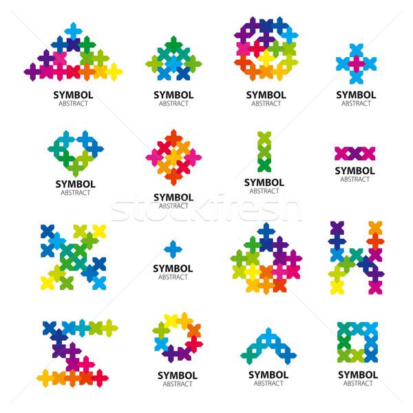 Nagy gyűjtemény vektor logók absztrakt nap Stock fotó © butenkow