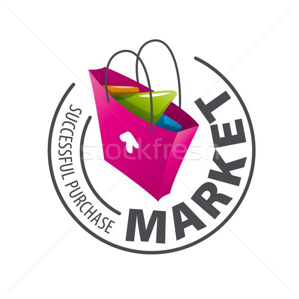 Vettore logo shopping bag business computer internet Foto d'archivio © butenkow