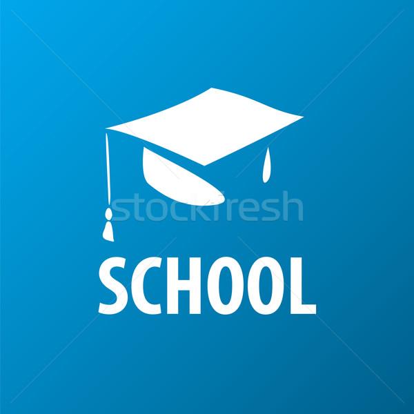 вектора логотип квадратный академический Cap ребенка Сток-фото © butenkow